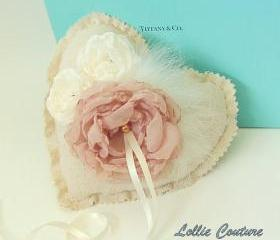 Woodland Wedding - Heart Ring Pillow - Romantic Shabby Chic Wedding pillow